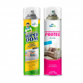 Kit Limpa Estofados - Impermeabilizante Proteg Domline +  Limpa Estofados Super Dom