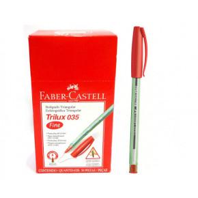 Caneta Esferográfica Vermelha - Trilux 035 Fine - Faber-Castell
